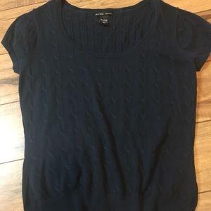 Women's shirt sleeve navy scoop neck sweater
